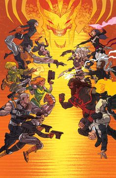 """The Battle of X-Forces a cover to Uncanny X-Force #18 in the second chapter of """"Vendetta!"""""""