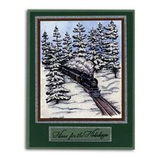 Northwoods Stamped Snowy Train Card
