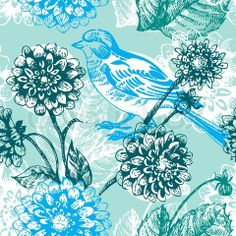 Stock vector of 'Floral seamless pattern with bird'