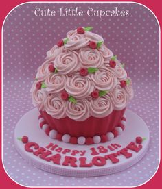Rose bud decorated Giant Cupcake.