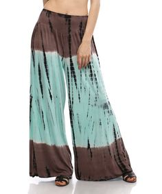Look at this Urban X Mocha & Mint Tie-Dye Palazzo Pants on #zulily today!