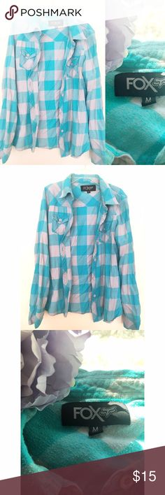 Fox Teal/Gray Soft Flannel Button Down Shirt * Fox Teal/Gray Soft Flannel Button Down Shirt  * Material: 100% Cotton * In great condition, worn a couple of times. * Accepting offers, via the offer option only. Fox Tops Button Down Shirts