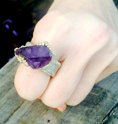 Large Amethyst, Crystal Ring, Gemstone ring, Amethyst Ring, Statement Ring, Healing Ring, Silver Ring by NaturefyingJewelry on Etsy