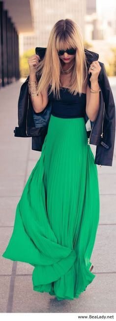 Cute long green skirt