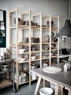 Pottery stored in IVAR solid pine shelving unit IKEA Ceramic Workshop, Pottery Workshop, Ceramic Studio, Pottery Studio, Clay Studio, Workshop Studio, Home Workshop, Studio House, Ivar Regal