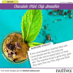 Chocolate Mint Chip Smoothie 7 Days of Smoothies Challenge with Nutiva kitchen.nutiva.com