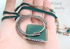 Green Diamond Necklace - Wire Wrapped - Agate Stone