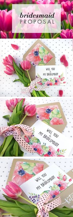Floral Will You Be My Bridesmaid Card. It's so pretty!