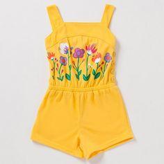Toddler Girls' Romper with Floral Design at Front -