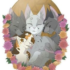 Top row: Sootfur, Willowpelt, and Graystripe Bottom row: Sorreltail and Rainwhisker