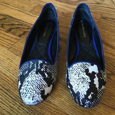 Maiden Lane Flats Black & white calf hair Maiden Lane flats with blue piping. Worn once. Like new. Maiden Lane Shoes Flats & Loafers