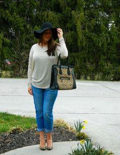 Easy... @Poshmark hat and bag #poshstyle boyfriend jean with heels