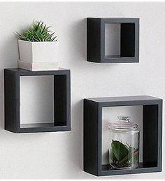 Modern Home 3 Pieces Black Square Cube Wall Shelf Set