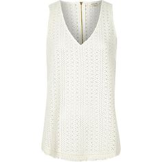 Get set for the new season with our collection of women's tops. From crop tops to going out tops and off the shoulder styles, find all our tops here. River Island Outfit, Crochet Tank, White Tank, White White, V Neck Tank Top, White V Necks, Summer Tops, Basic Tank Top, Tank Tops