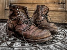 "nicely ""broken in"" pair of Iron Ranger boots. Photo by Tim Collins"