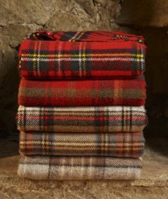 WOOL BLANKET (Antique Buchanan - Autumn colored blanket 2nd from the bottom) TARTAN KNEE CAR RUG British made HIGHLAND TWEED (44.00)