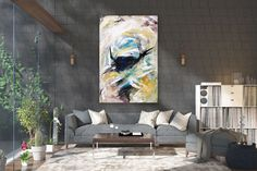 Items similar to Large Modern Wall Art Painting,Large Abstract Painting on Canvas,texture painting,gold canvas painting,gallery wall art on Etsy Large Abstract Wall Art, Large Canvas Art, Large Painting, Painting Art, Knife Painting, Painting Gallery, Bright Paintings, Abstract Paintings, Bedroom Paintings
