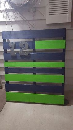 My Seahawk wooden pallet  flag I  made