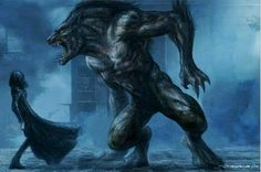 The Beauty and the Beast. Concept art by creature designer Patrick Tatopoulos for UNDERWORLD Werewolf Vs Vampire, Werewolf Art, Werewolf Games, Dark Fantasy, Fantasy Art, Vampires And Werewolves, World Of Darkness, Creatures Of The Night, Horror Art