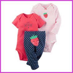 baby boy girl clothes set strawberry (long sleeve +short sleeve + pants)kids boy bebes baby layette Clothing Sets roupa infantil