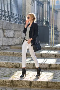 Apparel fashion clothing outfit style women sunglasses jacket black blazer top gray white jeans pants heels shoulder bag summer casual