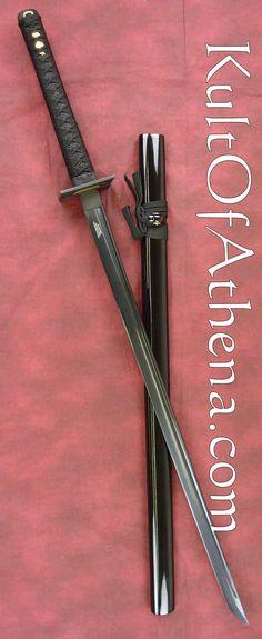 "Shinwa Black Knight Ninja Katana with Damascus Steel Blade <<< ""Now that's a katana! and Jaune Katana Swords, Samurai Swords, Swords And Daggers, Knives And Swords, Ninja Sword, Cool Swords, Ninja Weapons, Sword Design, Medieval Weapons"