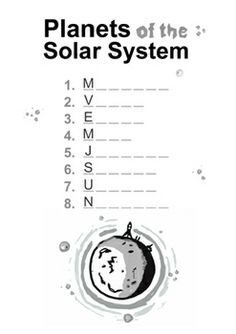 PLANETS AND NAMES WORKSHEETS ( SOLAR SYSTEM ) - TeachersPayTeachers.com Primary Education, Science Education, Elementary Schools, Teacher Resources, Teaching Ideas, Solar System Worksheets, Math Major, Critical Thinking Activities, Solar System Planets