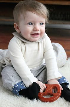 girl's peter pan collar shirt and reversible baby pants, all in organic cotton