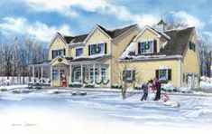 """Created by Custom House Portraits by Richelle Flecke.  Charming 15"""" x 24"""" watercolor painting of a family's home in Jefferson, Pennsylvania portrayed in festive Christmas decor and two children and beloved dog playing in the snow. What a sweet memory for this family! Painting Snow, Watercolor Painting, Watercolor Portraits, Winter Scenes, Custom Homes, Home Art, Home And Family, New Homes, Exterior"""