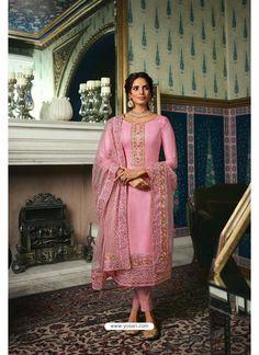 Pink Pure Tussar Silk Partywear Designer Suit Pink Trousers, Silk Pants, Trouser Suits, Straight Cut Pants, Pantalon Cigarette, Silk Suit, Designer Salwar Suits, Pakistani Suits, Diva Fashion