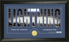 Tampa Bay Lightning letter art with home ice photo between the letters and minted team collector coin. #Lightning #BeTheThunder