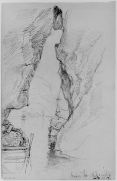 'Under the Cliffs', Drawing by Daniel Huntington (1816-1906, United States)