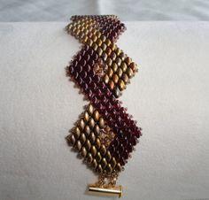 beaded bracelet, bead woven bracelet, Art Deco style bracelet in gold and  maroon, beaded cuff bracelet, super duo bracelet