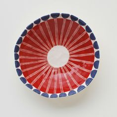 Image of Red/Blue Flower Bowl