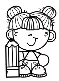 School Coloring Pages, Cute Coloring Pages, Coloring Pages For Kids, Free Coloring, Grandma Crafts, Clipart Black And White, Dibujos Cute, Binder Covers, Drawing For Kids