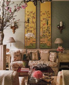 A Luxe Living Room Setting at Charlotte Moss. House Beautiful ....love this room, so happy and inviting