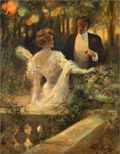 Couple au jardin - Albert Guillaume (French, 1873-1942)