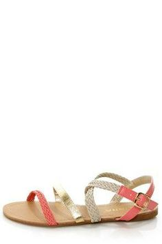 677e4fe4ede03 Life's a stage, so you'd better get your costume right with the Macbeth 17  Coral and Gold Braided Gladiator Sandals! Strappy vegan leather gladiators  in ...