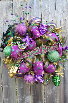 Mardi Gras Deco Mesh Wreath by CreativeCarries on Etsy, $85.00
