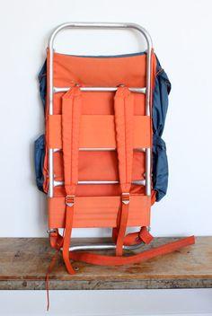vintage trip pak 2 external frame back pack aluminum metal frame backpack camping blue orange
