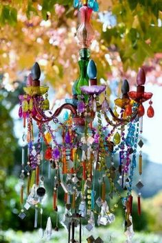 Love the colourful shabby chic look of this chandelier x