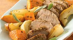You'll have plenty of time for cozy winter hugs with this simple dish of pork roasted with sweet potatoes, pears, and fresh sage.