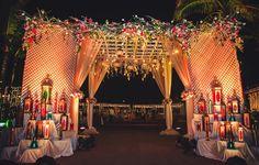 Meenal and Akul's glitzy destination wedding at the InterContinental Chennai Mahabalipuram Resort will surely give you major Night Wedding Decor, Wedding Gate, Wedding Reception Backdrop, Wedding Entrance, Wedding Stage Decorations, Wedding Mandap, Wedding Ceremony, Indian Wedding Receptions, Wedding Dress