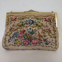 Vintage Petit Point Purse Bag Handbag Floral Needle Work   eBay