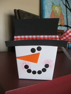 Chinese take-out container snowman gift box