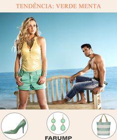 """Os tons """"verde menta"""" estão em alta para o verão! Além de roupas, sapatos, bolsas e bijoux são alguns dos acessórios que podem ser encontrados com essa cor. Veja o shorts da Farump que segue essa tendência."""