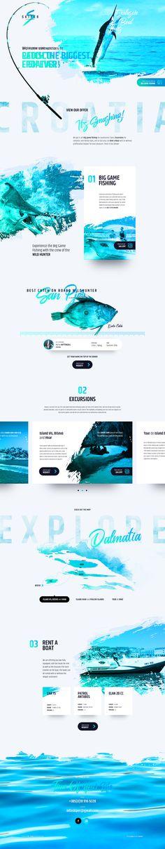 Web design_Exclusive Boat Tours Design Sites, Web Design Tips, Web Design Trends, Page Design, Web Layout, Layout Design, Leaflet Layout, Web Responsive, Site Vitrine