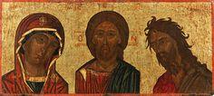 2: A CRETAN ICON OF THE DEISIS, 16th Century, 17.8 x 39 : Lot 2