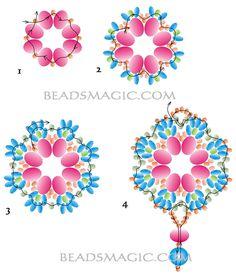 Free pattern for pendant Rumba - 2.  U need:    rondelle beads 6-8 mm    seed beads 11/0    seed beads 8/0    twin seed beads