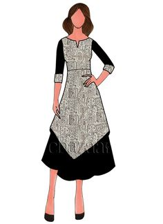 Buy Grey Printed Cotton Kurti online, SKU Code: This Black color Party knee length kurti for Women comes with Printed Art Silk . Fashion Design Sketchbook, Fashion Design Drawings, Fashion Sketches, Clothing Sketches, Dress Sketches, Fashion Art, Fashion Models, Designer Kurtis Online, Indian Designers